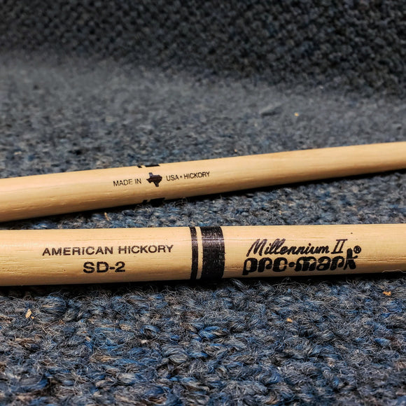 NOS Pro Mark SD2 American Hickory Drum Stick Pair - Small Round Wood Tip