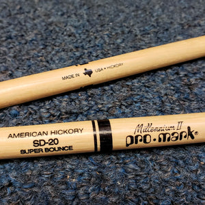 NOS Pro Mark SD-20 American Hickory Drum Stick Pair - Nylon Tip
