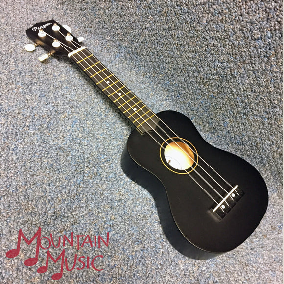 NEW Amahi Penguin PGUK Soprano Black Ukulele W/ Cover