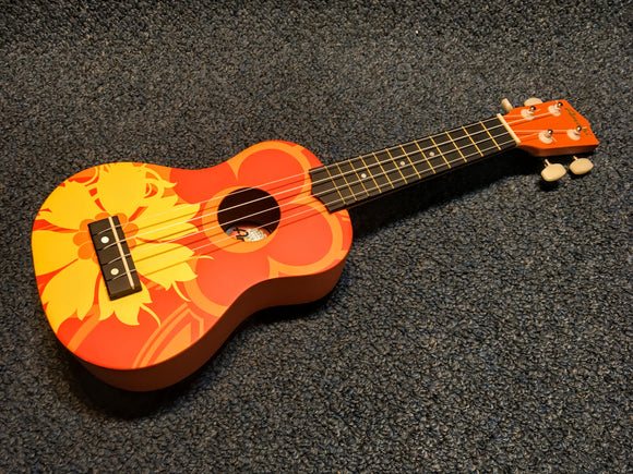 Amahi DDUK Orange Flower Ukulele Uke w/bag