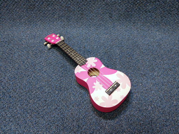 NEW Amahi DDUK4 Soprano Ukulele Uke Pink Flower With Bag