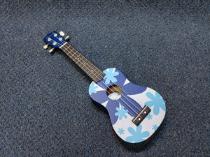 NEW Amahi DDUK8 Soprano Ukulele Uke Blue Flower With Bag
