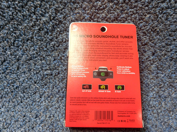 NEW D'Addario NS Micro Soundhole Tuner Black