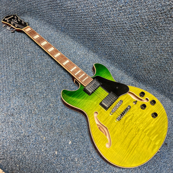 NEW Ibanez AS73FM-GVG Semi-Hollow Electric Guitar - Green Valley Gradation