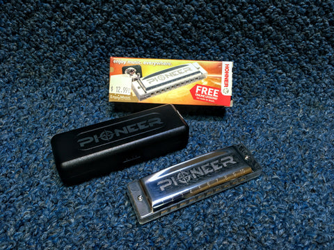 New Hohner Pioneer Harmonica w/ Case and Online Lessons
