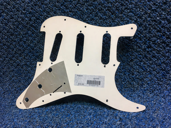 White Lefty Stratocaster SSS Electric Guitar Pickguard 1 Ply