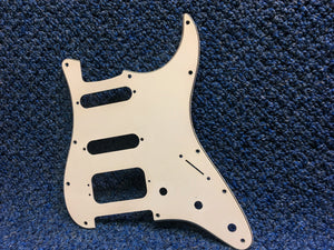 White Stratacaster Style HSS Pickguard 3 Ply
