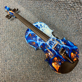 NEW Geneva GVE4001 4/4 Electric Violin Blue Pearl w/ Case, Bow, Cable, & Rosin