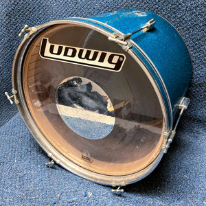 "Unlabeled Stencil Blue Sparkle Bass Drum 20""x14"" AS IS"