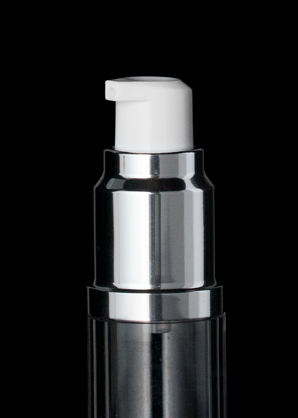 Luxe 15 ML Airless Bottle Glossy Black with Clear Bottle - Cosmetic Packaging Now