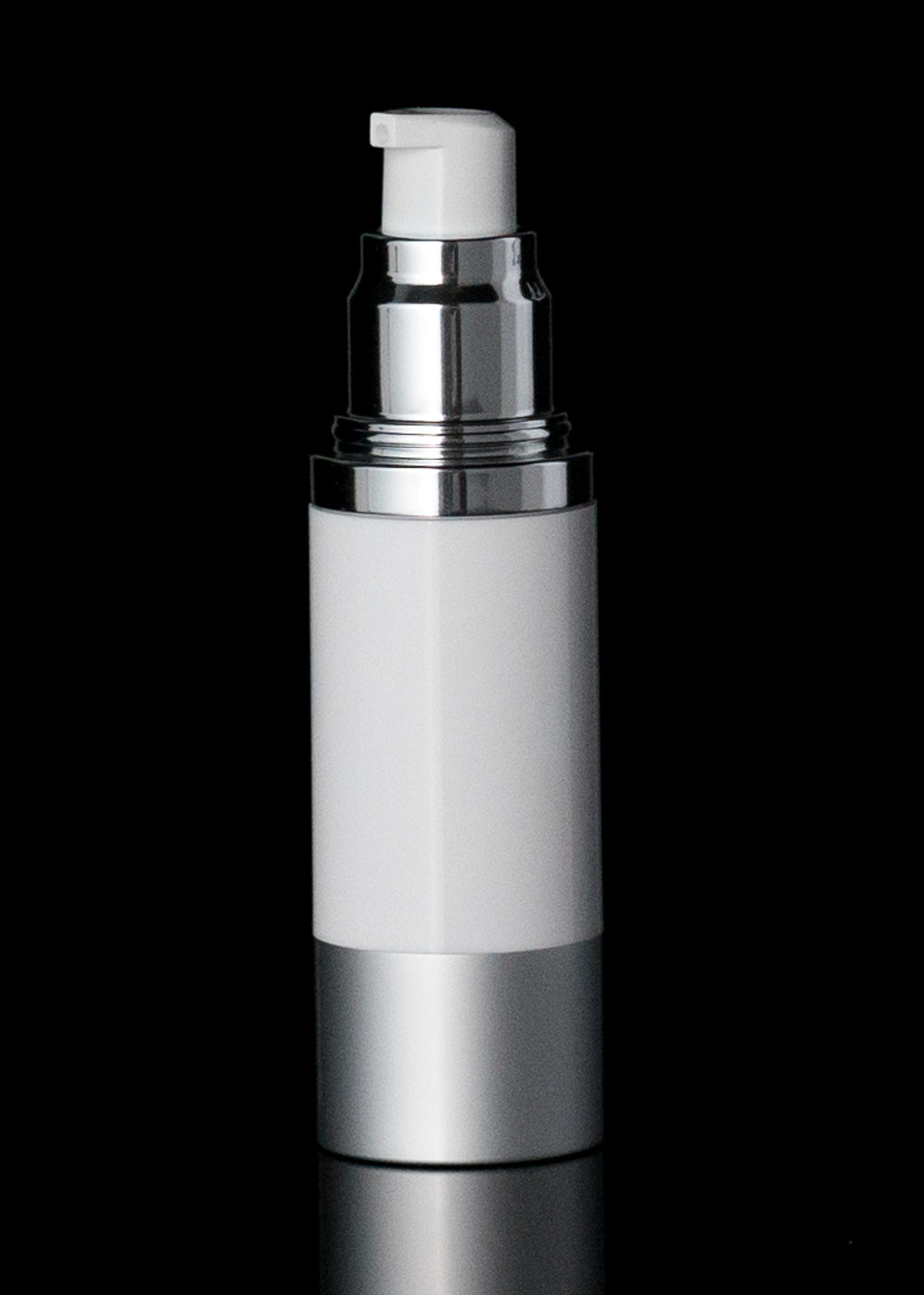 Luxe 30 ML Airless Bottle Matte Silver with White Bottle - Cosmetic Packaging Now