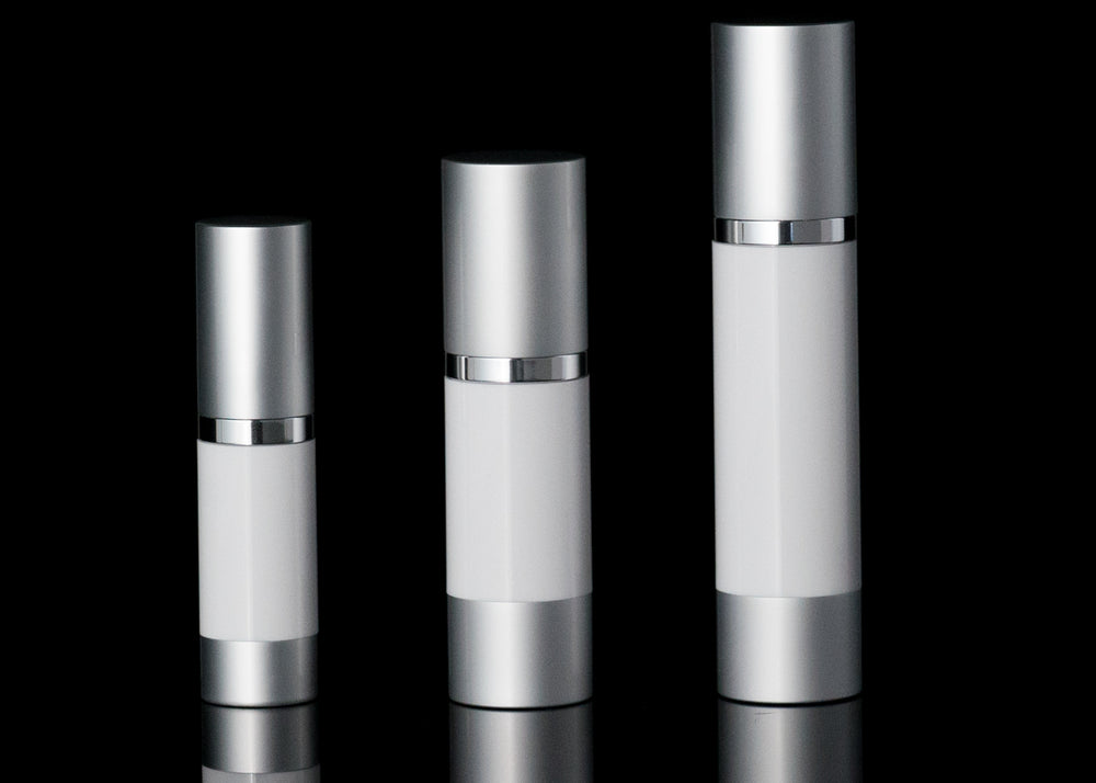 Luxe 15 ML Airless Bottle Matte Silver with White Bottle