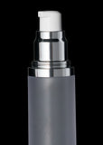 Luxe 50 ML Airless Bottle Glossy Black with Frosted Bottle - Cosmetic Packaging Now