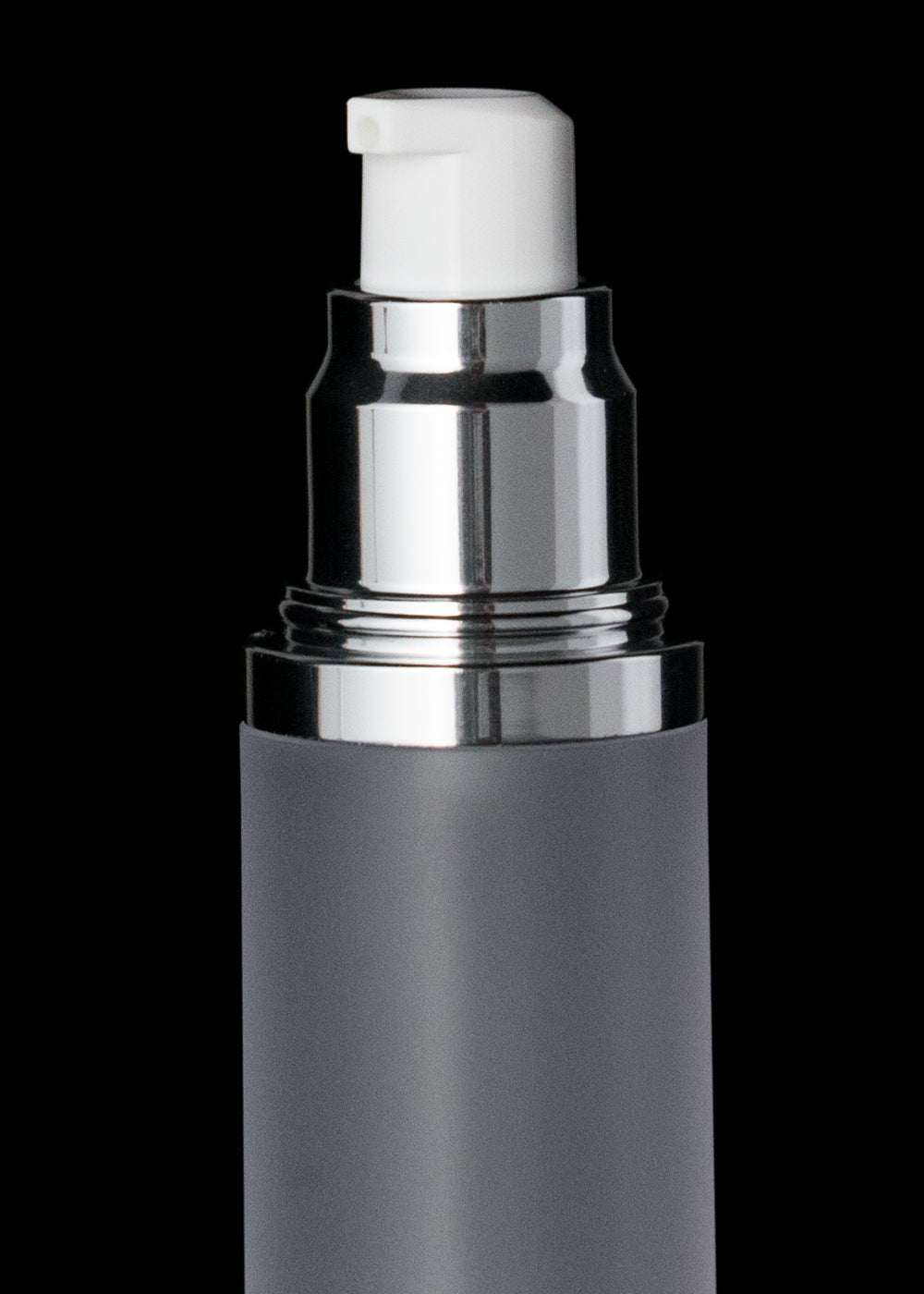 Luxe 30 ML Airless Bottle Glossy Black with Frosted Bottle - Cosmetic Packaging Now
