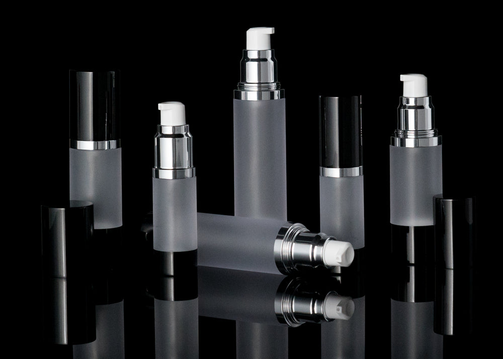 Luxe 15 ML Airless Bottle Glossy Black with Frosted Bottle