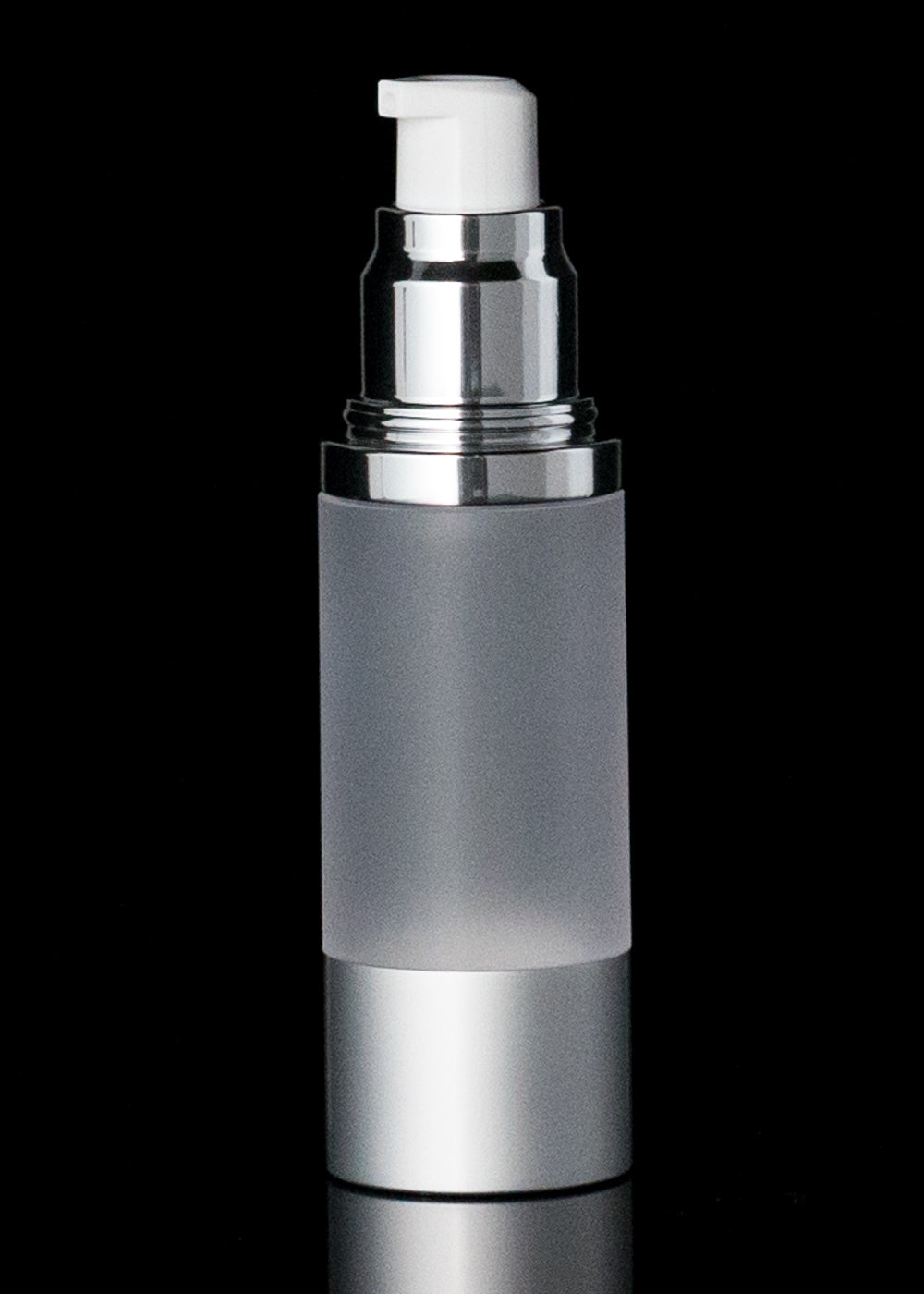 Luxe 30 ML Airless Bottle Matte Silver with Frosted Bottle