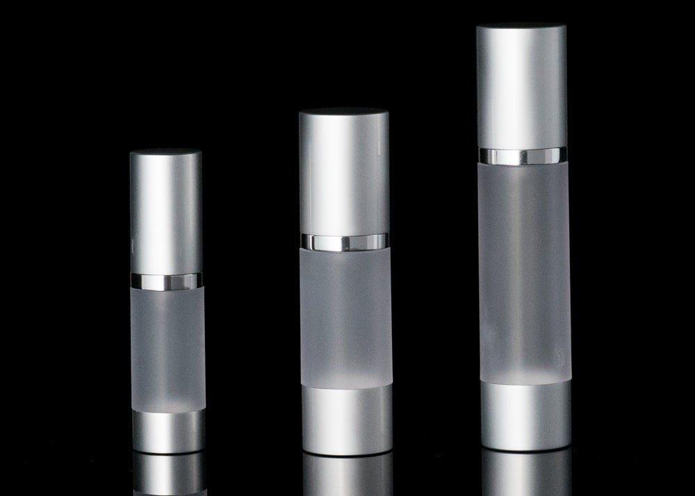 Luxe 50 ML Airless Bottle Matte Silver with Frosted Bottle - Cosmetic Packaging Now