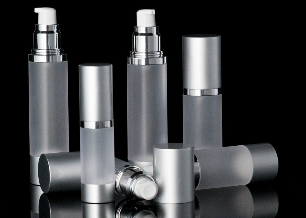 Luxe 15 ML Airless Bottle Matte Silver with Frosted Bottle - Cosmetic Packaging Now
