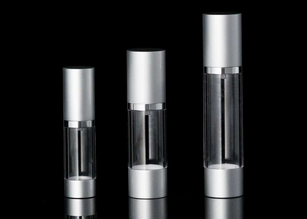 Luxe 15 ML Airless Bottle Matte Silver with Clear Bottle