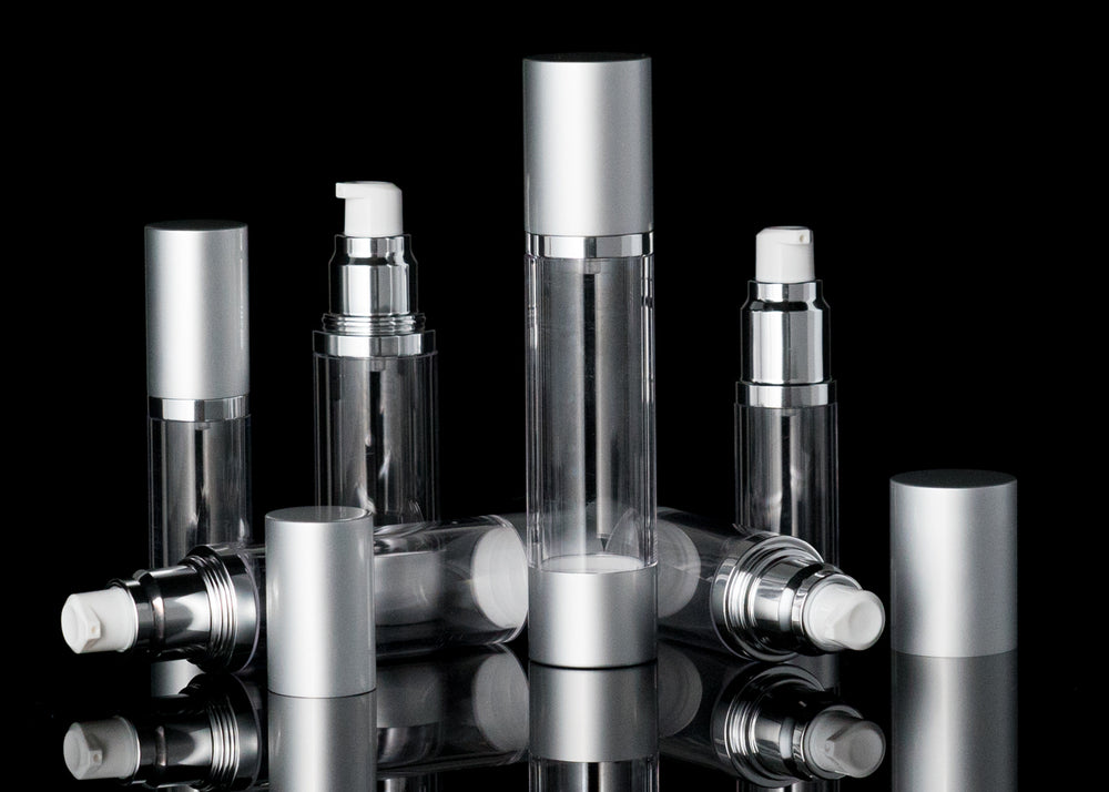 Luxe 50 ML Airless Bottle Matte Silver with Clear Bottle - Cosmetic Packaging Now