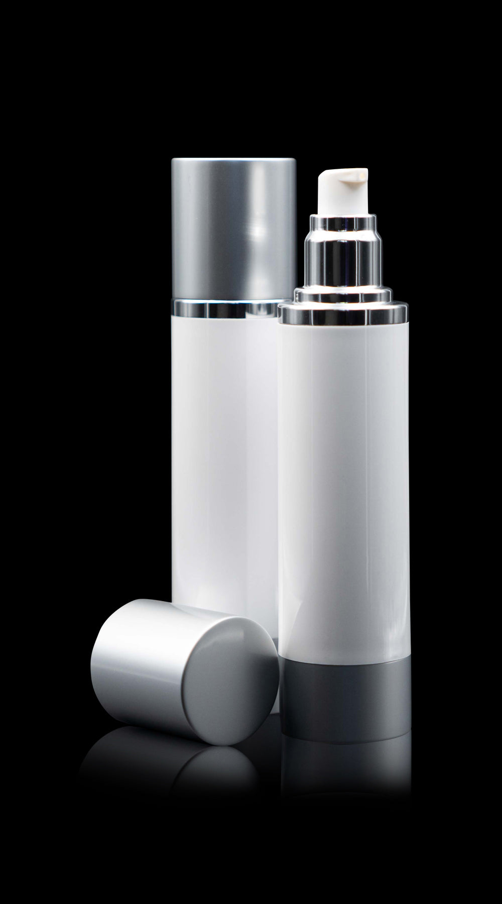 Luxe 100 ML Airless Bottle Matte Silver with White Bottle - Cosmetic Packaging Now