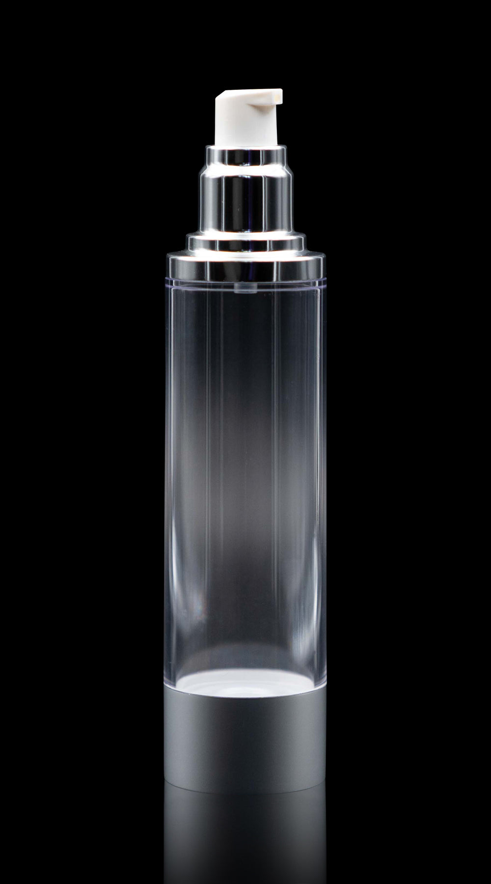 Luxe 100 ML Airless Bottle Matte Silver with Clear Bottle - Cosmetic Packaging Now