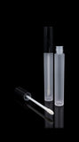 Vibe Lip Gloss Container Glossy Black Cap with Frosted Bottle - Cosmetic Packaging Now