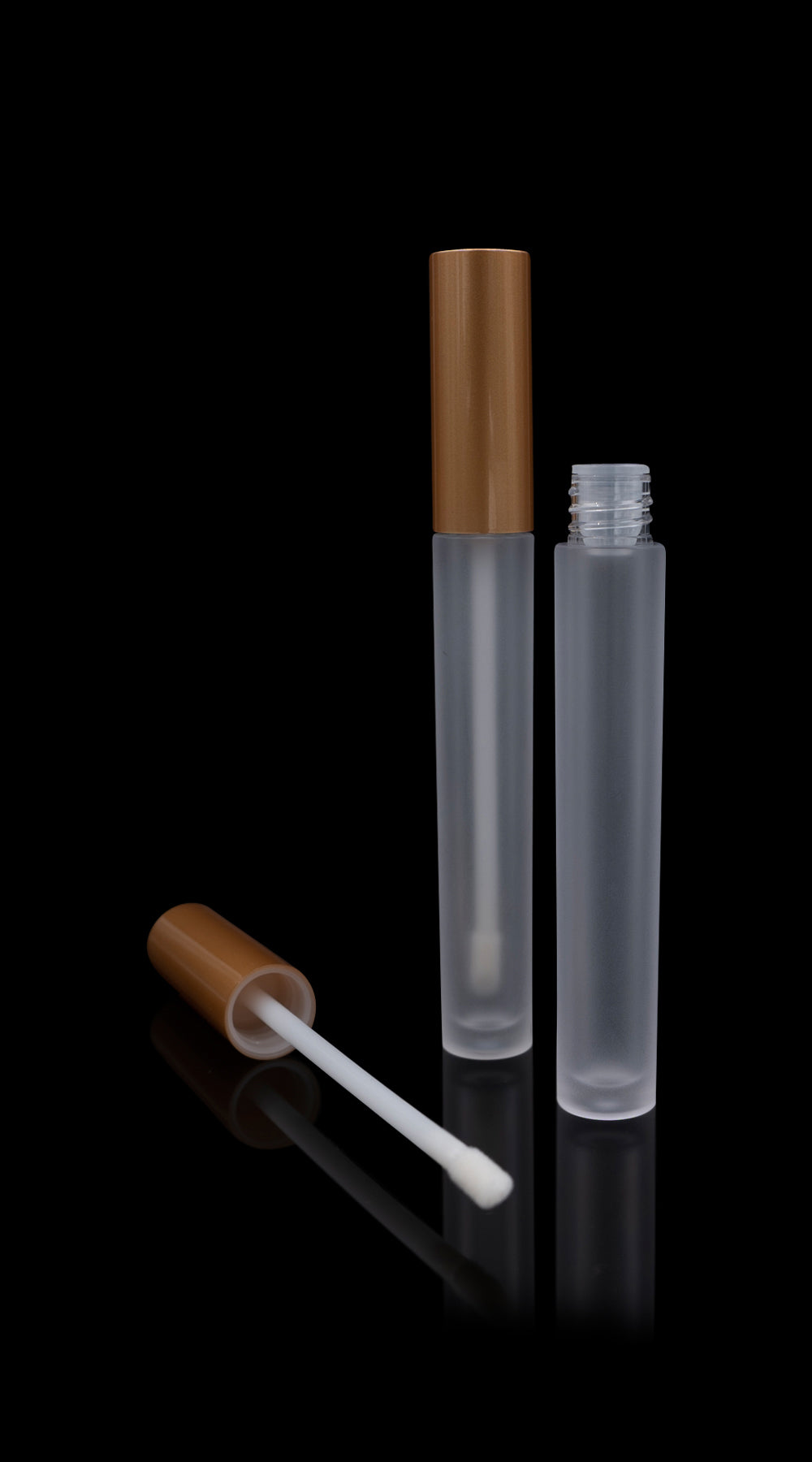 Vibe Lip Gloss Container Matte Gold Cap with Frosted Bottle - Cosmetic Packaging Now