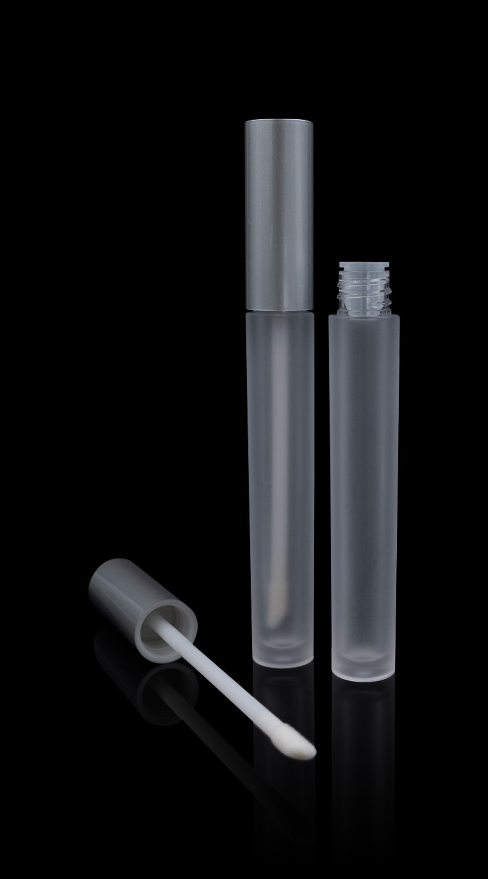 Vibe Lip Gloss Container Matte Silver Cap with Frosted Bottle - Cosmetic Packaging Now
