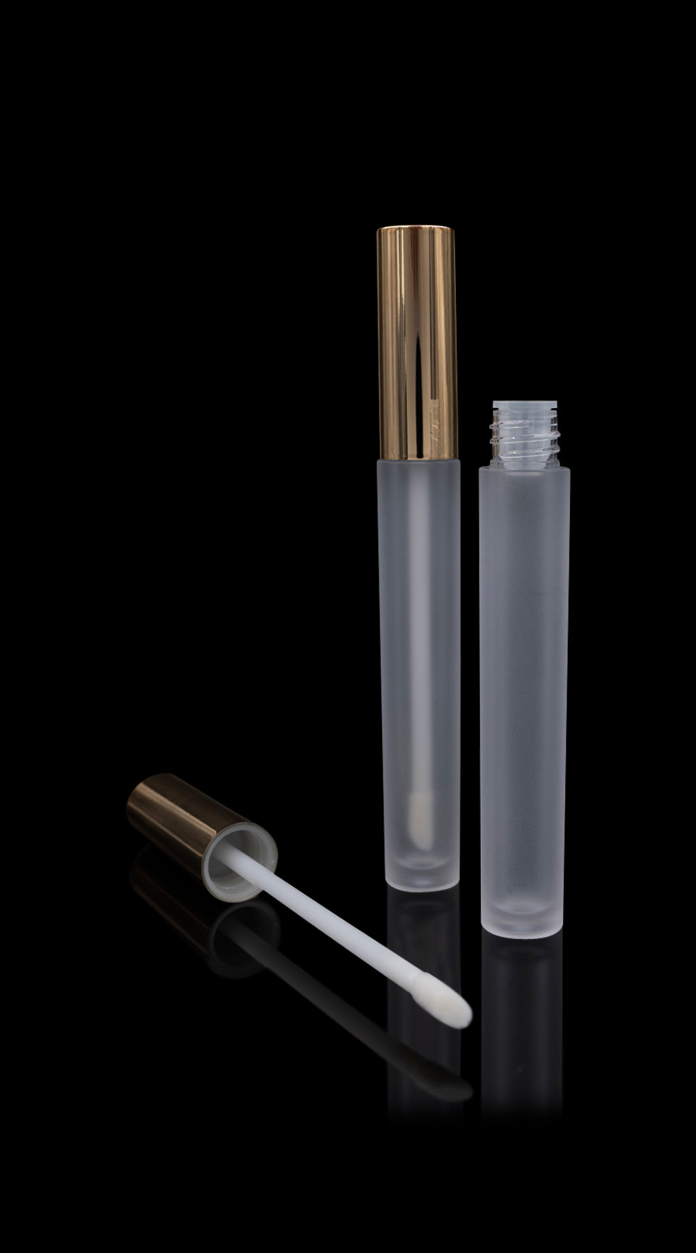 Vibe Lip Gloss Container Shiny Gold Cap with Frosted Bottle - Cosmetic Packaging Now
