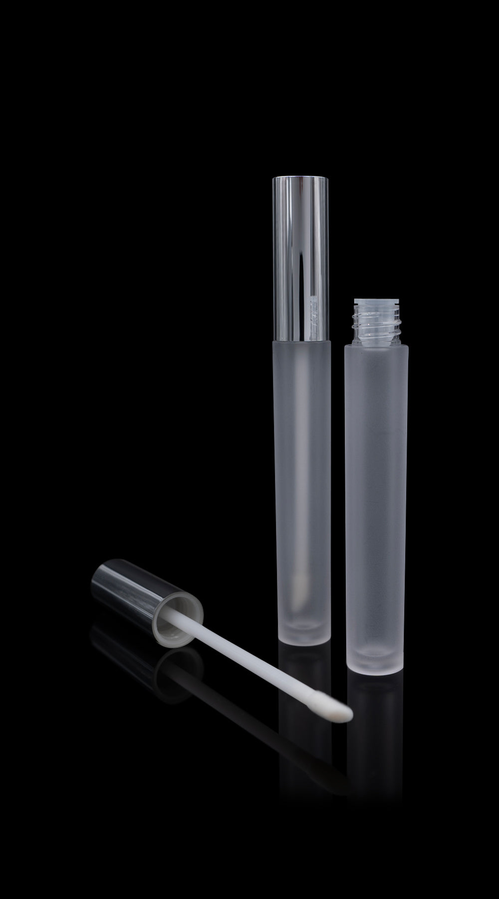 Vibe Lip Gloss Container Shiny Silver Cap with Frosted Bottle - Cosmetic Packaging Now