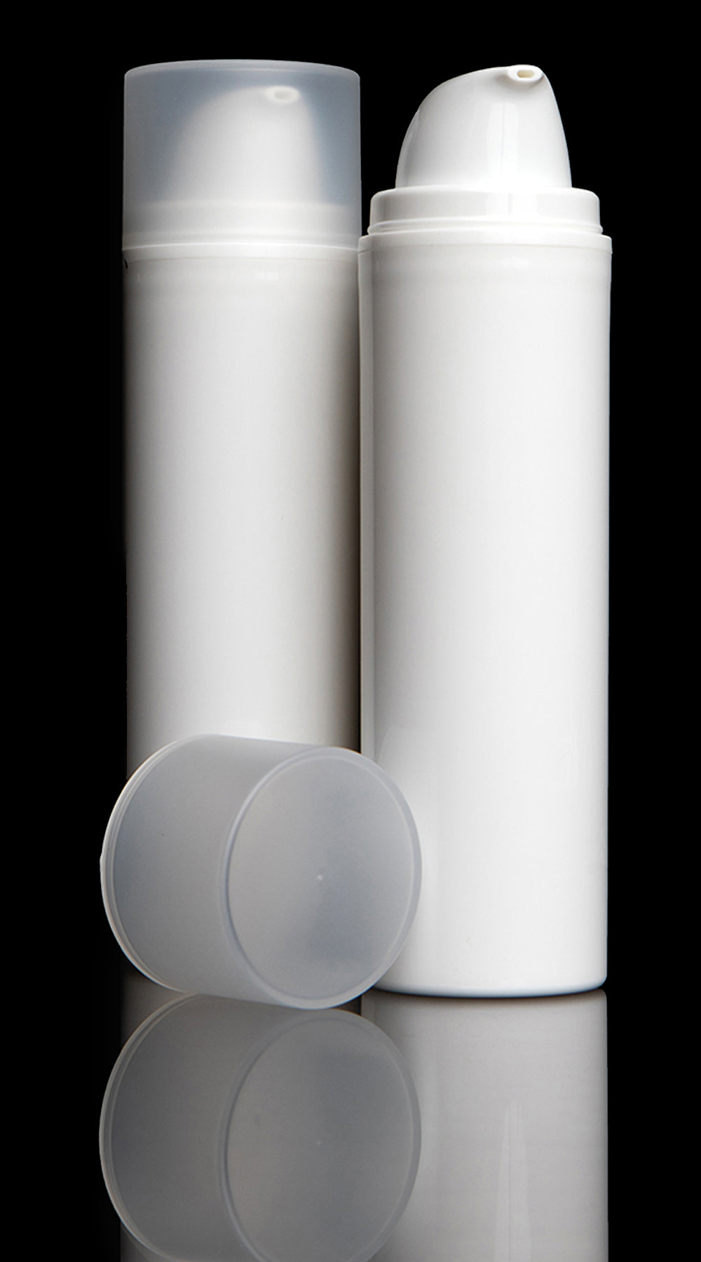 Pure 150 ML White PP Airless Bottle with Frosted Cap