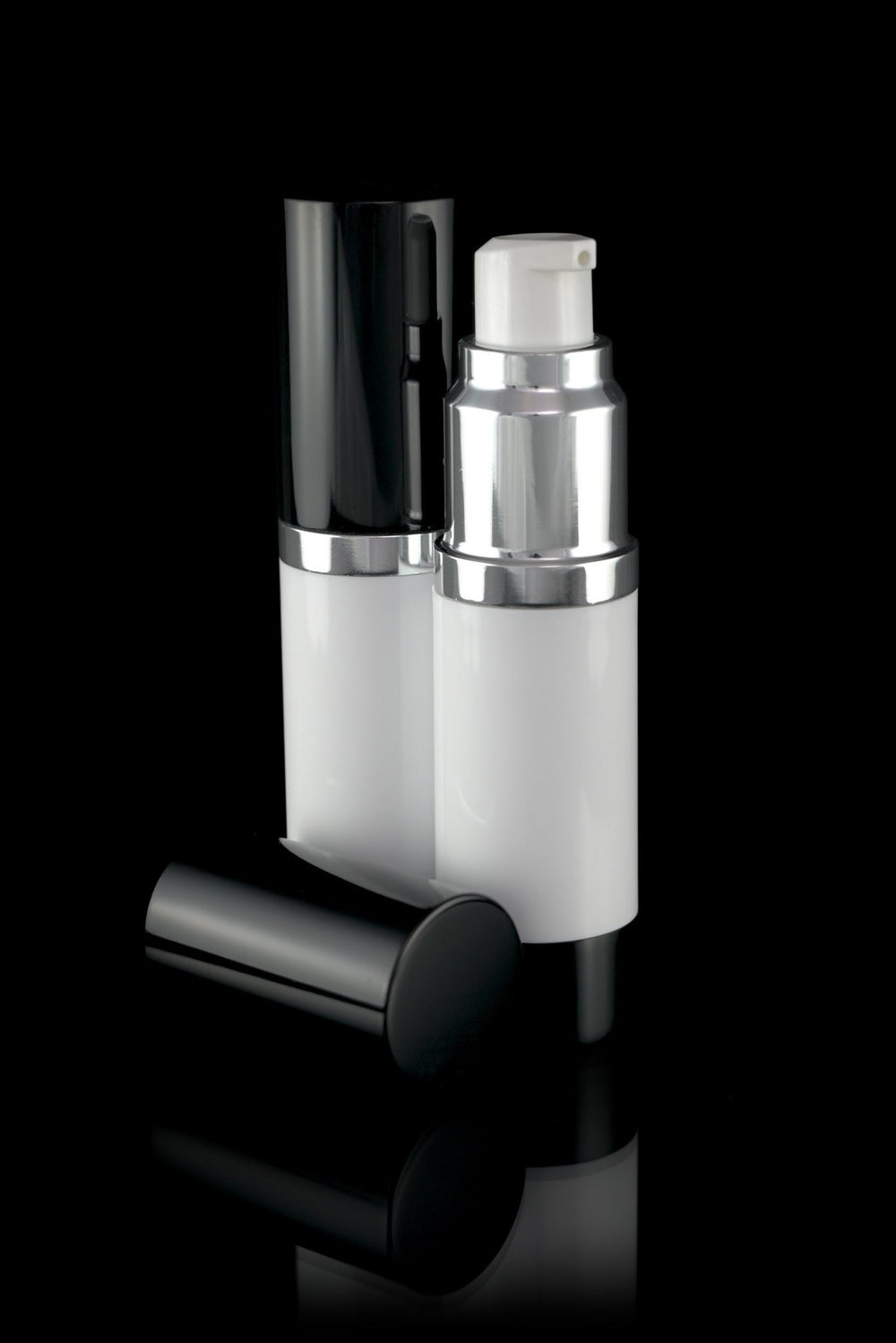 Airless Pump Bottle - Luxe 15 ML Airless Bottle Glossy Black With White Bottle