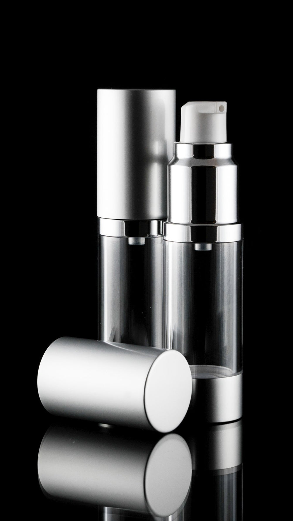 Airless Pump Bottle - Luxe 15 ML Airless Bottle Matte Silver With Clear Bottle
