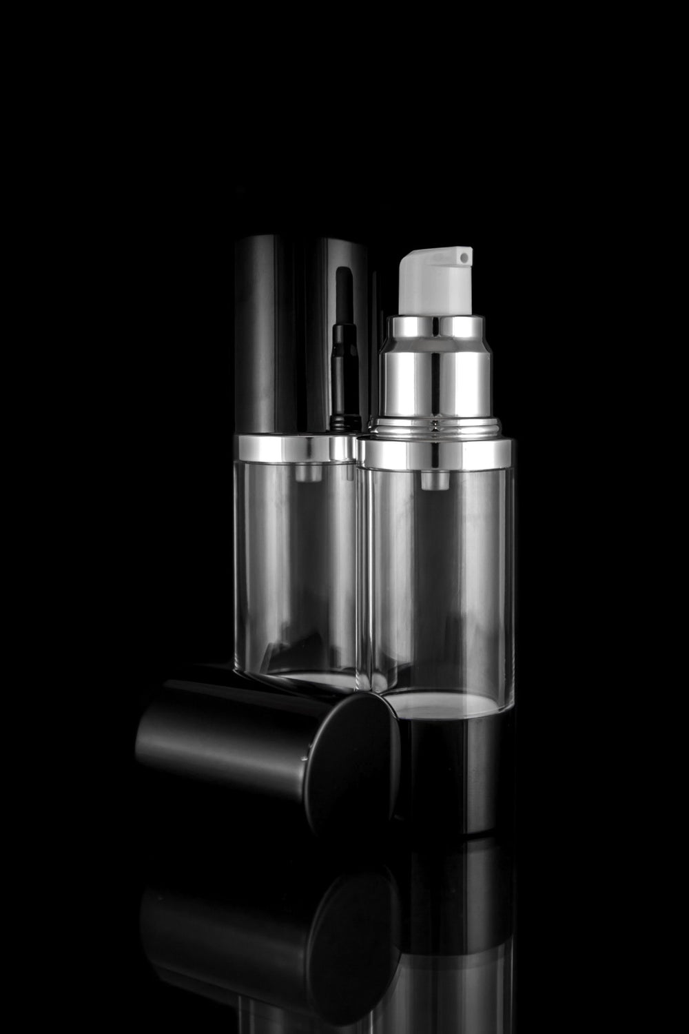 Airless Pump Bottle - Luxe 30 ML Airless Bottle Glossy Black With Clear Bottle