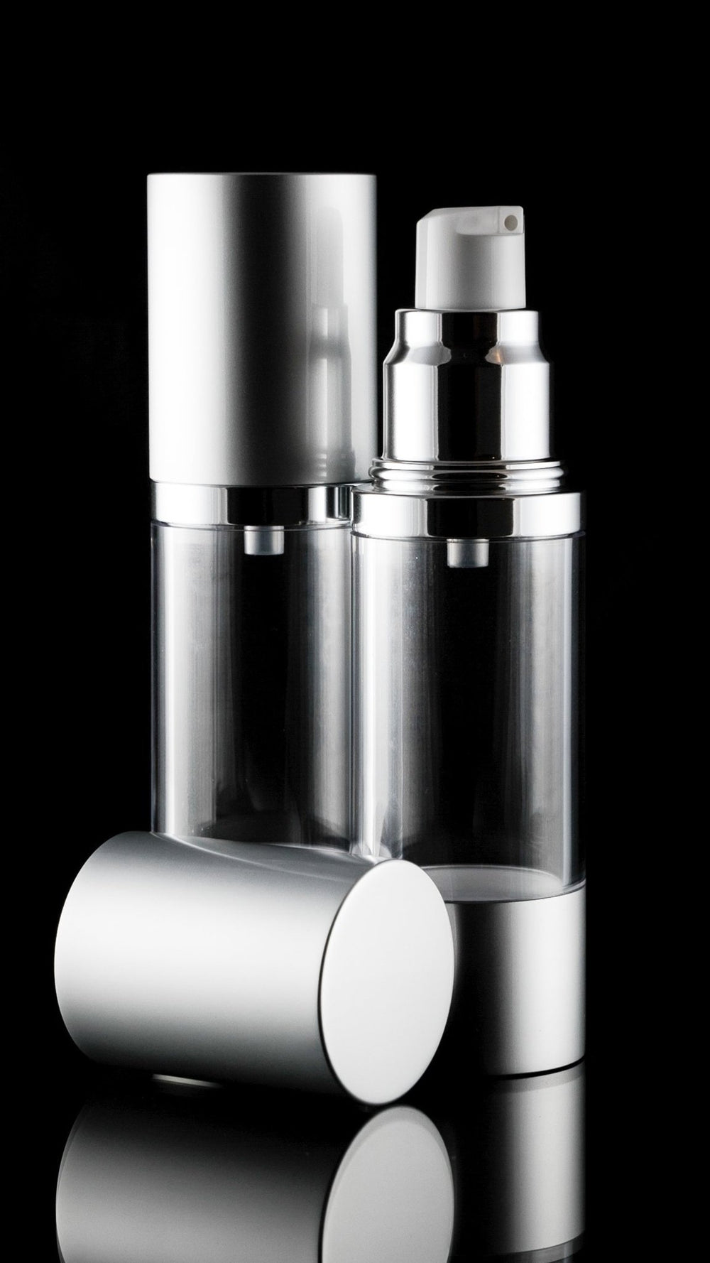 Airless Pump Bottle - Luxe 30 ML Airless Bottle Matte Silver With Clear Bottle