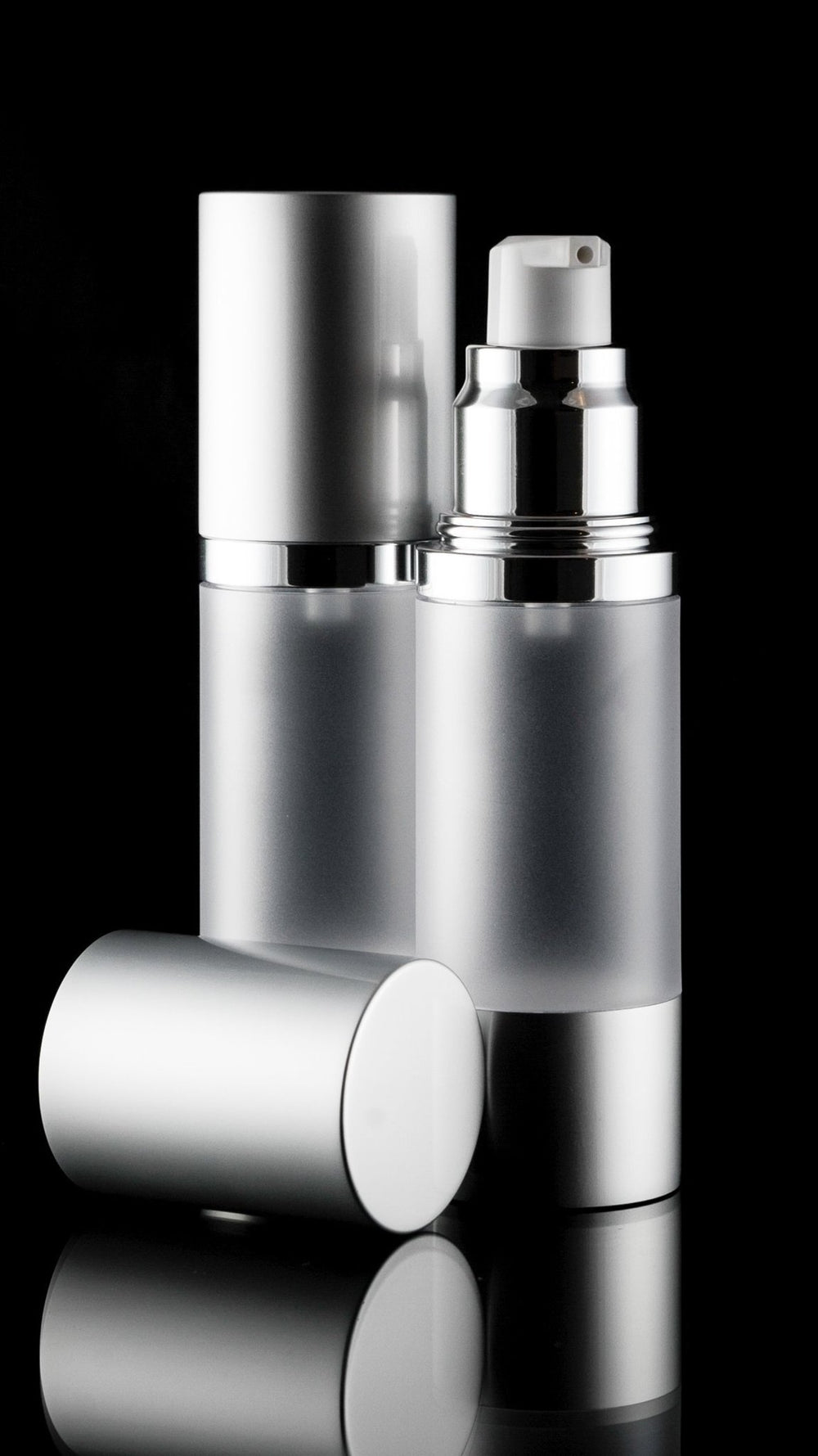 Luxe 30 ML Airless Bottle Matte Silver with Frosted Bottle - Cosmetic Packaging Now