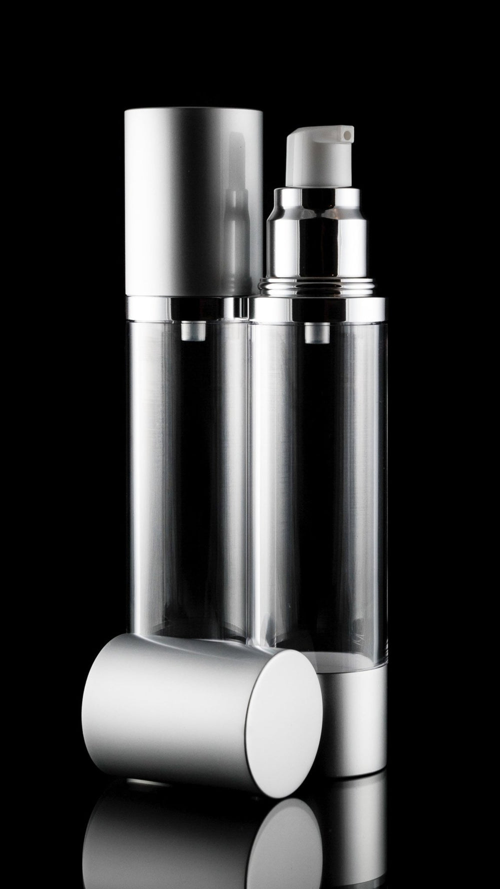Airless Pump Bottle - Luxe 50 ML Airless Bottle Matte Silver With Clear Bottle