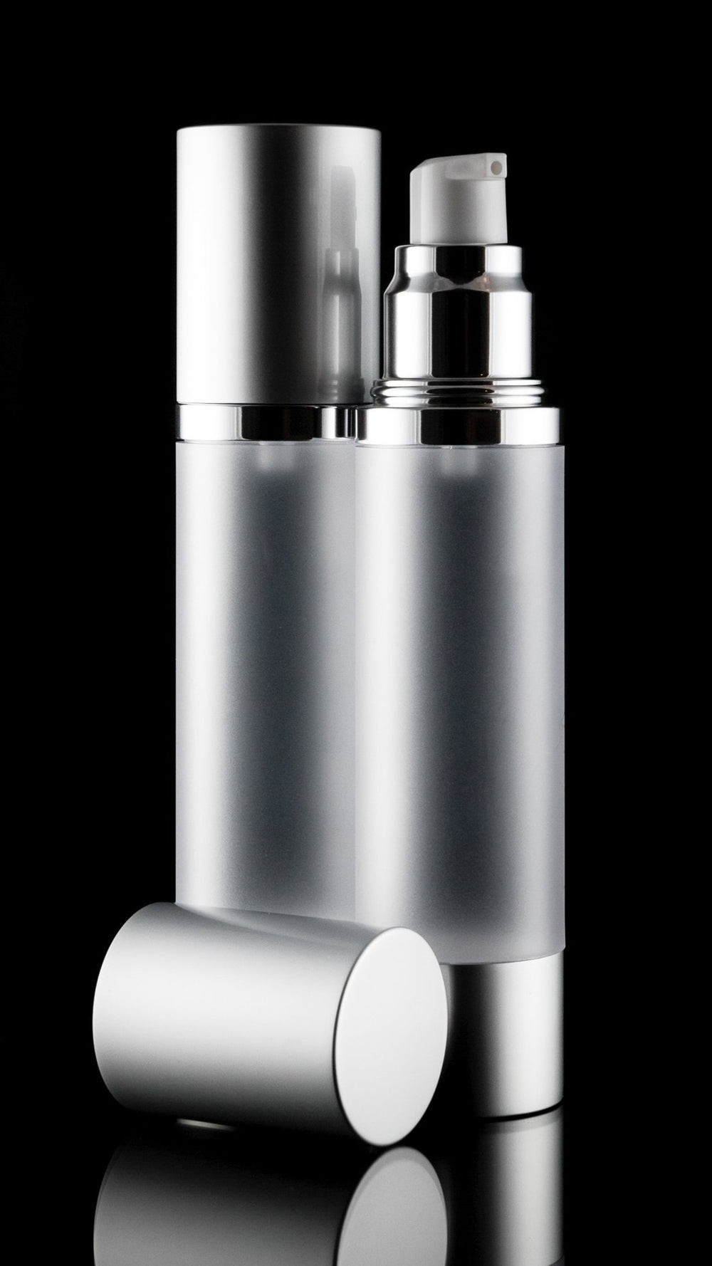 Airless Pump Bottle - Luxe 50 ML Airless Bottle Matte Silver With Frosted Bottle