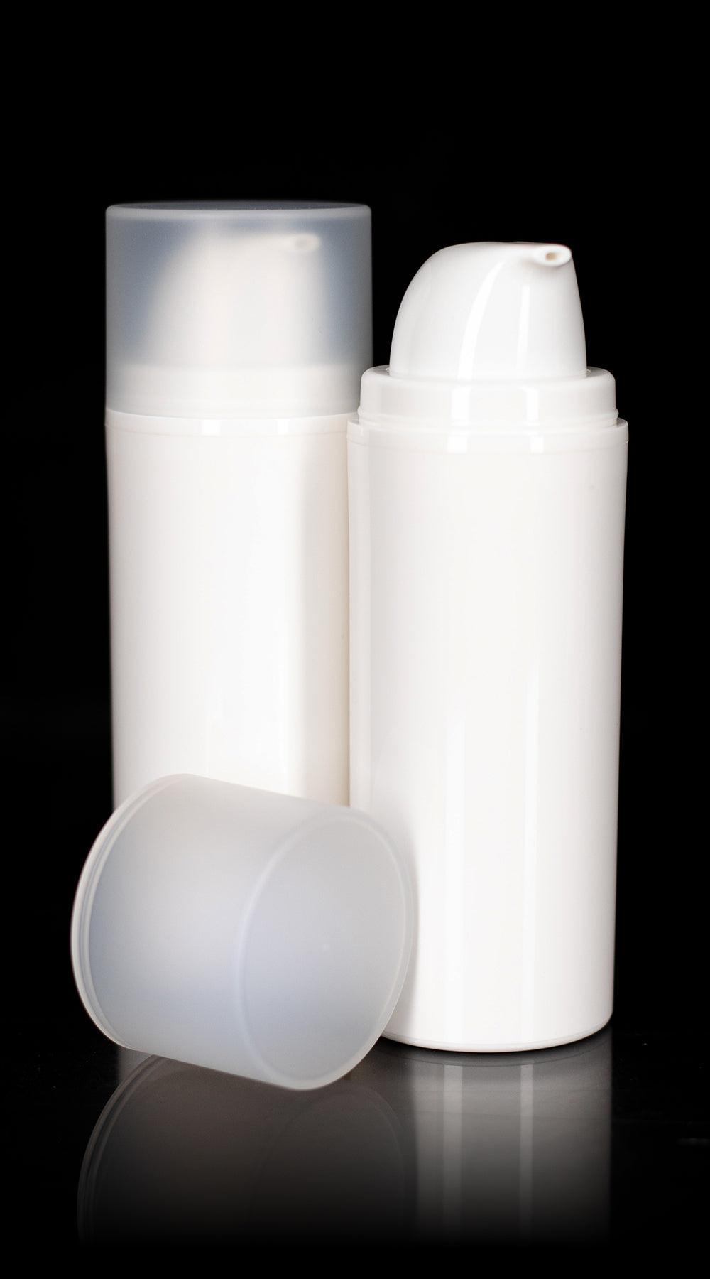 Pure 100 ML White PP Airless Bottle with Frosted Cap