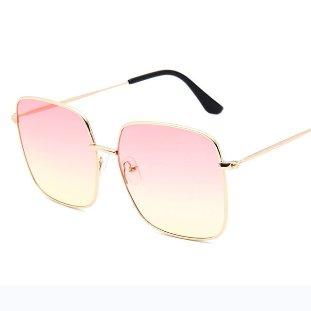 RBRARE Luxury Square Sunglasses Women Brand Designer Retro Alloy Frame Big Sun Glasses Vintage Gradient Male Oculos Feminino