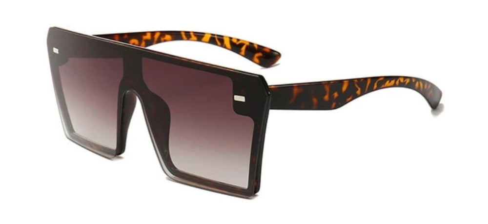 Oversized Square Flat Top Mirrored Gradient Sunglasses - Modern Shades