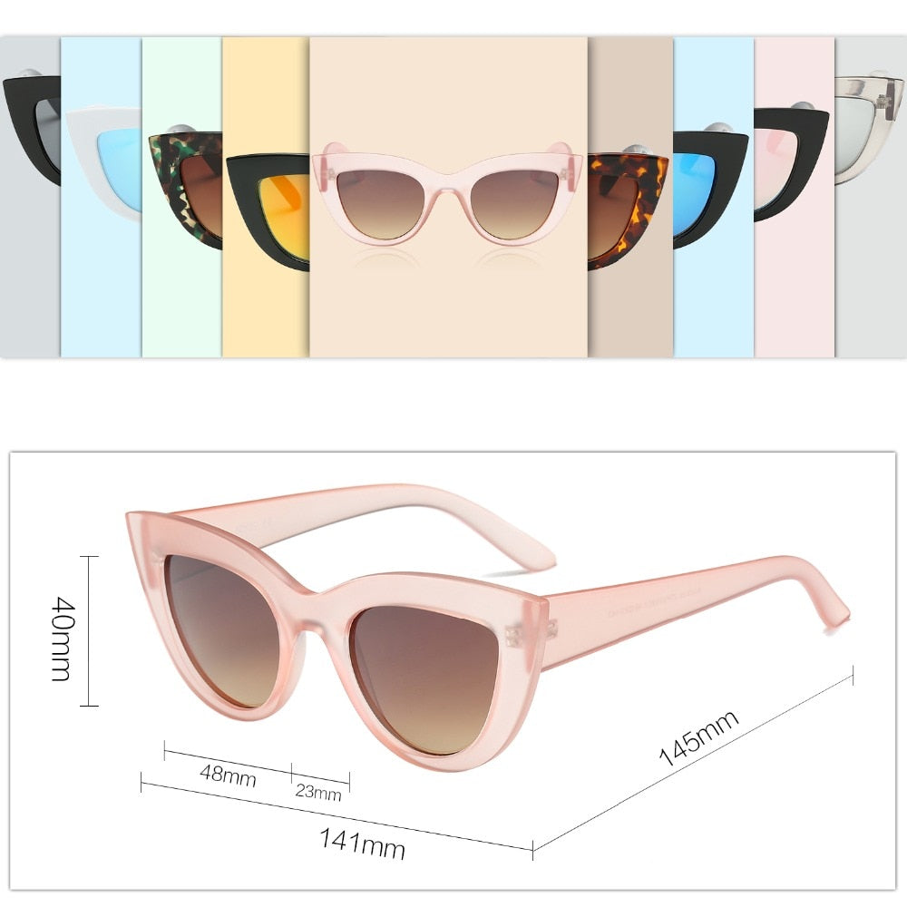 Sunglasses women Accessories CatEye Style 2017 Brand Designer Fashion Shades black plastic UV400 Sun Glasses oculos de sol SOJOS