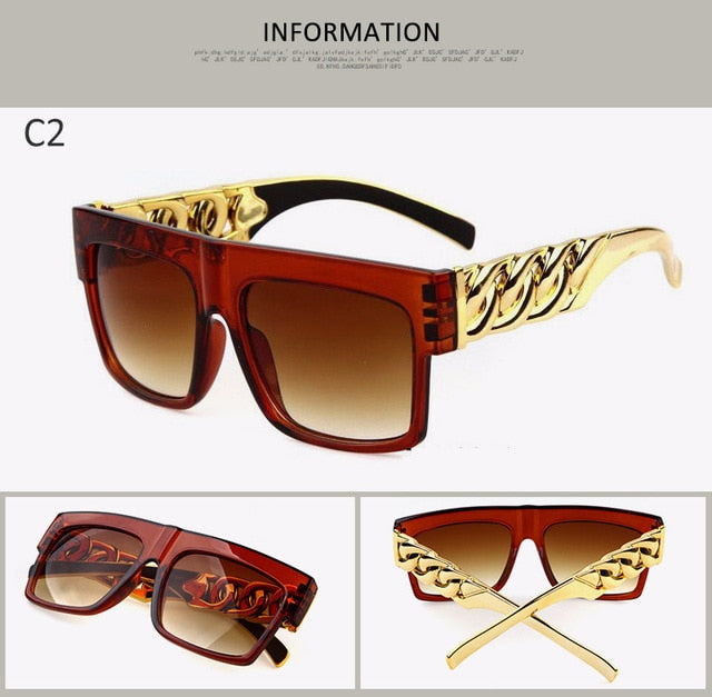 LongKeeper Fashion Gold Metal Chain Kim Kardashian Beyonce Sunglasses Vintage Hip Hop Sun Glasses Gafas De Sol UV400