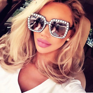 Square Diamond Frame Oversized Sunglasses - Glam Shades