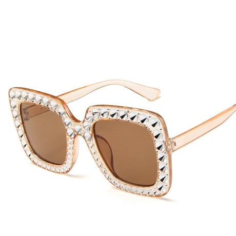 Shining Diamond Sunglasses Women Brand Design Flash Square Shades Female Mirror Sun Glasses Oculos Lunette
