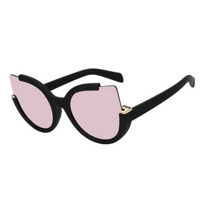 Cutout Cat Eye Oversized Mirrored Sunglasses