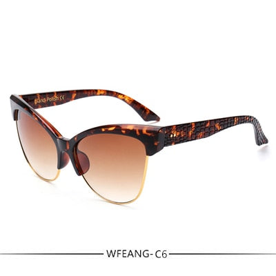 WFEANG Fashion Brand Designer Cat Eye Sunglasses Women Tom Sun Glasses Big Size Cateye Vintage Oversize Female Gradient Points