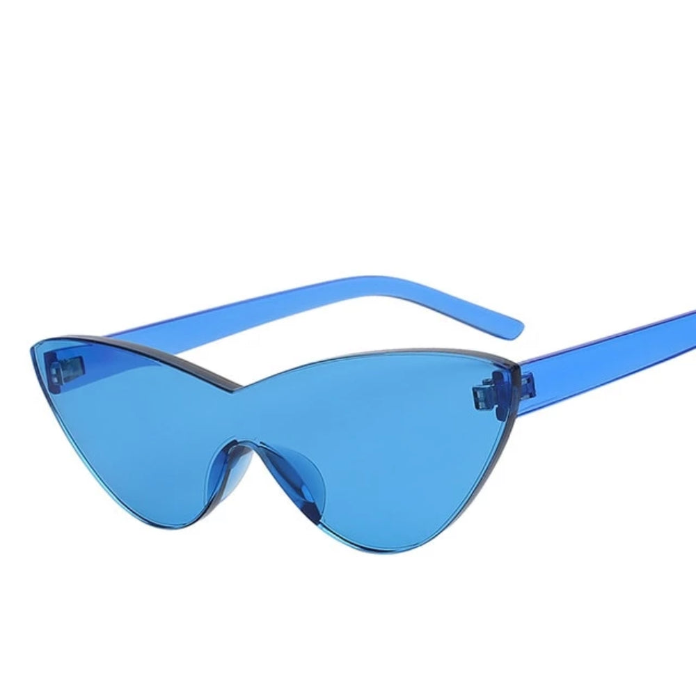 Shield Rimless Cateye Colored Sunglasses - Flat lens