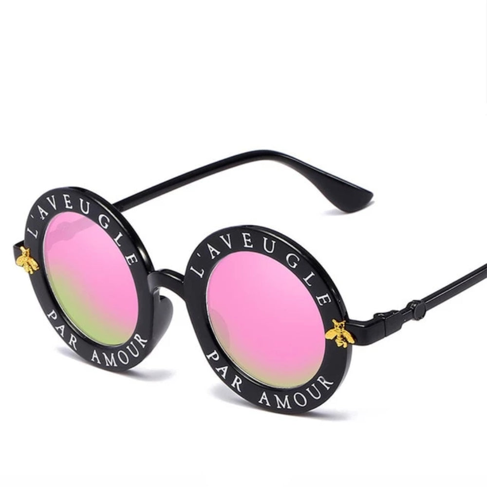 "Round Retro Sunglasses Circle letters ""Aveugle Par Amour"" Bee detail sunglasses CHANEL STYLE"